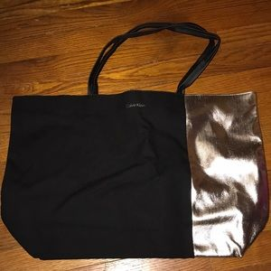 Calvin Klein Black and Gold Tote Bag